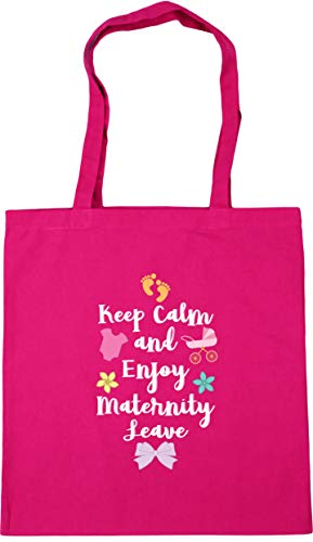 HippoWarehouse Keep Calm and Enjoy Maternity Leave pinkTote Shopping Gym Beach Bag 42cm x38cm, 10 litres Fuchsia