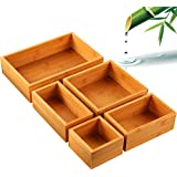 5-Piece Bamboo Drawer Organizer Set, Multi-use Storage Box Set, Varied Sizes Junk Drawer Organizer for Office, Home, Kitchen, Bedroom, Bathroom by Pipishell