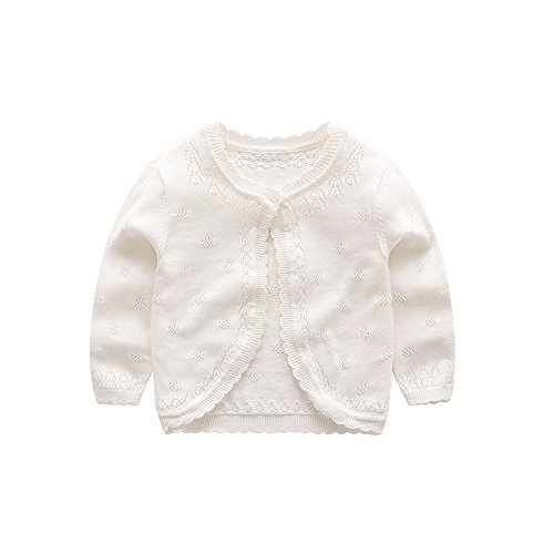 (XIAOHAWANG Knitted Baby Girls Cardigan Toddler Button up Sweaters (2 Years, White))