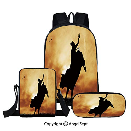 (Fashion Backpack Set for School 3 in 1,Bull Rider Silhouette at Sunset Dramatic Sky Rural Countryside Landscape Rodeo Decorative,Amber Black,Three-piece Bag With Crossbody Pencil Bag)