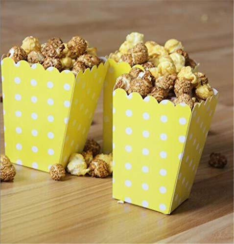 ASMGroup Popcorn Boxes 6pcs/bag Colorful Mini Dot Popcorn Box Party Supplies Gift Box Party Favor Candy For Kid Baby Shower Wedding Party Decoration Yellow