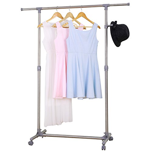 Ollieroo Stainless Steel Telescopic Rolling Garment Rack Clothing Rack (Single Rail)