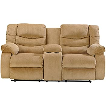 power reclining loveseat without console signature design collection sand manual dual with microfiber
