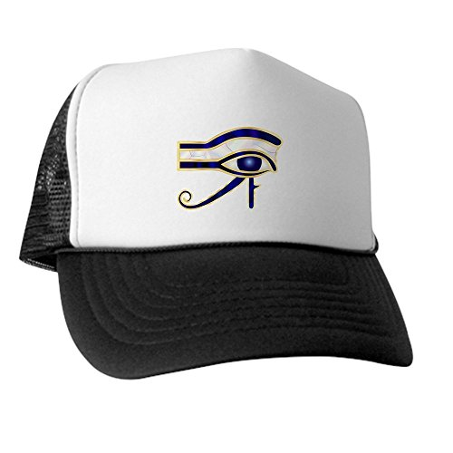 Truly Teague Trucker Hat (Baseball Cap) Egyptian Eye of Horus or Ra - Green and White (Pharoah Hat)