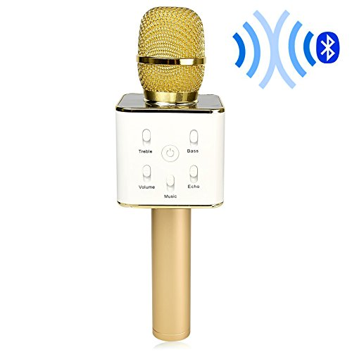Digitnow! Wireless Handheld Microphone Portable KTV Karaoke Stereo Player Bluetooth For Smart Phones iphone/ipad Computer With Mic Speaker Gold USB Playback]()
