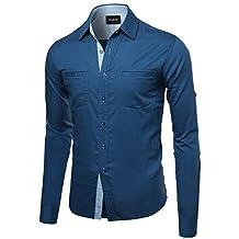 Youstar Men's Quality Casual Long Sleeve Denim Shirt