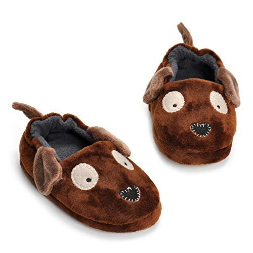 - Toddler Boyss Doggy Slippers Cartoon Cute Animals Plush Warm Shoes Brown
