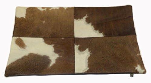 Foreign Affairs Home D cor Brown White Rectangular Cowhide Pillow Dexter