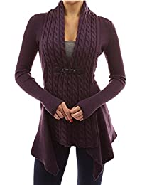 OMZIN Women's Open Front Knit Irregular Casual Cardigans Cable Sweater