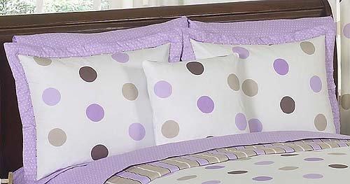 Sweet Jojo Designs Purple and Brown Mod Dots Pillow Shams