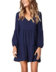 FOWSMON Women's Tunic Dress V Neck Printed Ruffle Swing Flowy Casual Mini T Shirt Dress