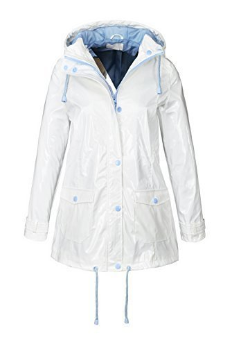 Abrigo impermeable para lluvia, festival, abrigo para mujer talla 8 10 12 14 16 blanco WHITE-BLUE 44: Amazon.es: Ropa y accesorios