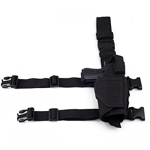 (ZiNingBel Tornado Tactical Thigh Holster Drop Leg Holster Adjustable Pistol Handgun Nylon Gun Pouch fit SP2022 M9a1 USP 1911 (Black))