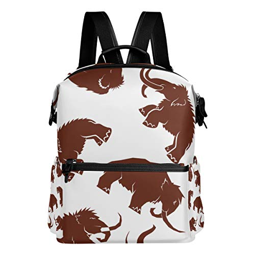 TARTINY Vector Seamless Mammoth Brown Silhouettes Mammoths Laptop Backpack Leather Strap School Bag Outdoor Travel Casual Daypack