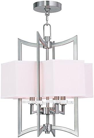 Livex Lighting 50703-91 Woodland Park 4-Light Foyer Chandelier, Brushed Nickel