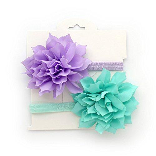 My Lello Baby Petal Flower Headbands Mixed Colors 2-Pack (Light Lavender/Aqua) (Headbands Lavender Girl)