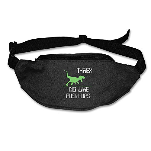 Ada Kitto T-REX NO LIKE PUSH-UPS Mens&Womens Sport Style Travel Waist Bag For Running And Cycling Black One Size by Ada Kitto