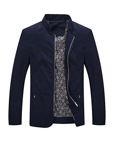 Cerniera Unita Uomo Cappotto Casuale Marino Maniche Con Slim Outerwear Blu Tinta Fit Zongsen Giacca Lunghe xIzqq4