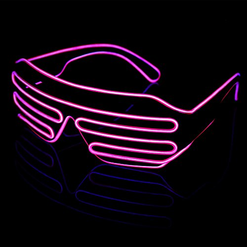 LED Light Up Glasses Sound Activated Shutter EL Wire Neon Glasses Pink with Controller for Halloween Bar Glowing Party Mask Decor (Glowing Glass)