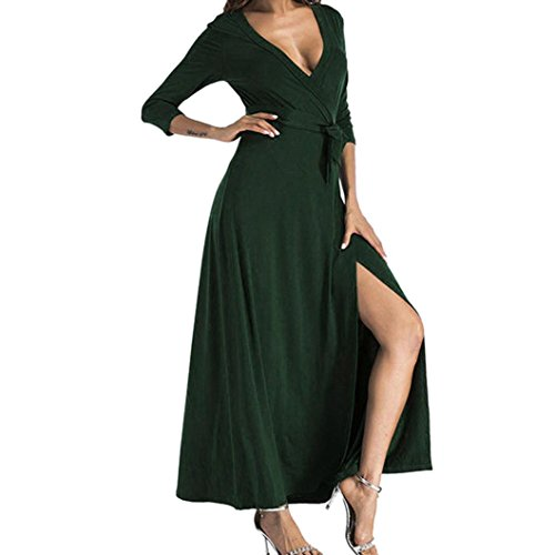 50' Solid Point - Clearance! Long Dress,Showking Women's Deep V Neck Split Maxi Cocktail Long Party Dresses (XXL, Green)