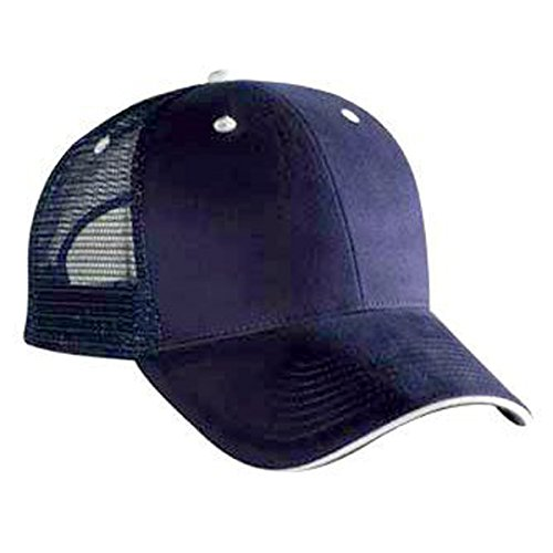 (Brushed Bull Denim Sandwich Visor Solid And Two Tone Color Low Profile Pro Style Mesh Back Cap)