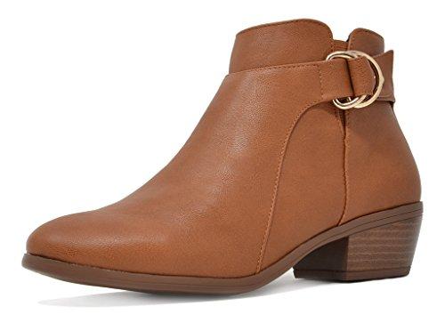 TOETOS Women's Cowboy Block Heel Side Zipper Ankle Booties 03-tan Pu