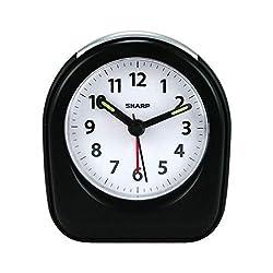 Sharp Ascending Alarm Quartz Analog Battery-Powered Clock, 3 1/2 x 3 x 1 3/4, Black