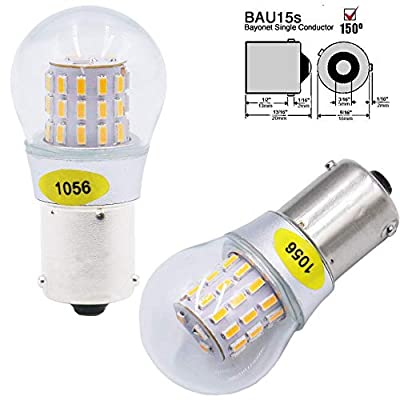 AMAZENAR 2-Pack 1056 BAU15S 7507 12496 5009 PY21W Extremely Bright Amber/Yellow LED Light 9-30V-DC, AK-3014 39 SMD Replacement Bulbs For Turn Signal Lights Tail BackUp Bulbs: Automotive