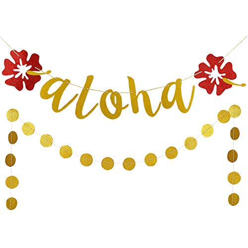 Gold Glittery aloha Hawaii Flower Banner and Gold Glittery Circle Dots Garland- Hawaii Theme Party Decorations -