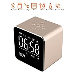 Digital LED Mirror Alarm Clock with Bluetooth Speaker, Wireless Stereo Sound Music Speaker Built-in Micro SD Card,Two Groups of Alarm with custom music and Large Mirror LED Dimmable Display(Gold)