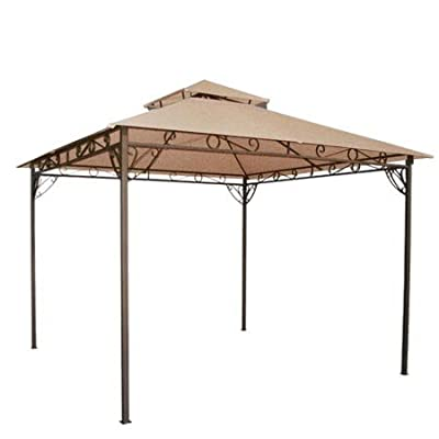 Tan 10' x 10' Feet Garden Canopy Gazebo Replacement Top 2 Tier Outdoor Patio Lawn UV Block Sun Shade Waterproof Polyester 127 3/4 Square Inches Tent Durable: Garden & Outdoor