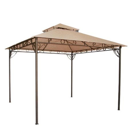 Tan 10' x 10' Feet Garden Canopy Gazebo Replacement Top 2 Tier Outdoor Patio Lawn UV Block Sun Shade Waterproof Polyester 127 3/4 Square Inches Tent Durable