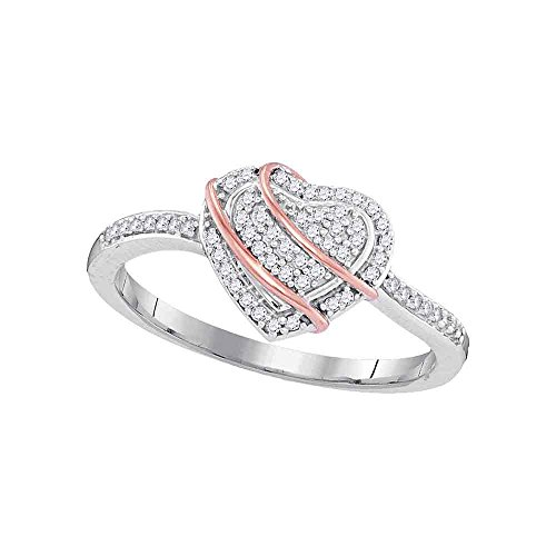 10kt White Gold Womens Round Diamond Heart Cluster Ring 1/6 Cttw