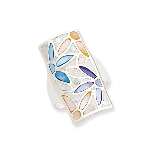 ICE CARATS 925 Sterling Silver Multi Colored Mother Of Pearl Band Ring Size 6.00 Fine Jewelry Ideal Gifts For Women Gift Set From Heart