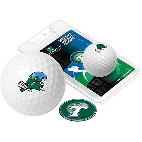 NCAA Tulane University Green Wave - Golf Ball One Pack with Marker