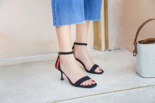 Ruiren Femme Sandales Bout Talons 5cm Pour Chaussures À Chat noir Dames Talon Ouvert Hauts rwB1grIWq