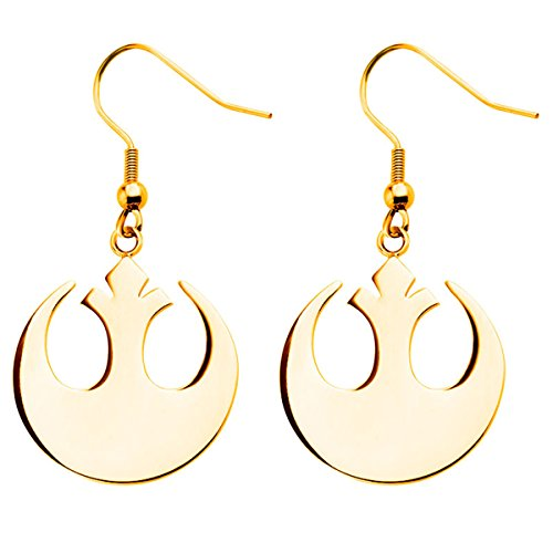 Star Wars Stainless Steel Rebel Alliance Dangle Earrings (Gold IP Stainless Steel)