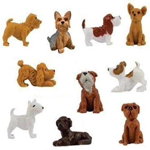 - fb 20 Little Dog Figures Basset Hound Bull Terrier Jack Russell Black Labrador Yorkshire Boxer Bloodhound Bulldog Poodle Chihuahua Little Puppy Toy Bag Lot