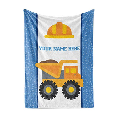 Personalized Custom Dump Truck Fleece and Sherpa Throw Blanket for Boys, Girls, Kids, Baby - Toddler Construction Blankets Perfect for Bedtime, Bedding or as Gift (50
