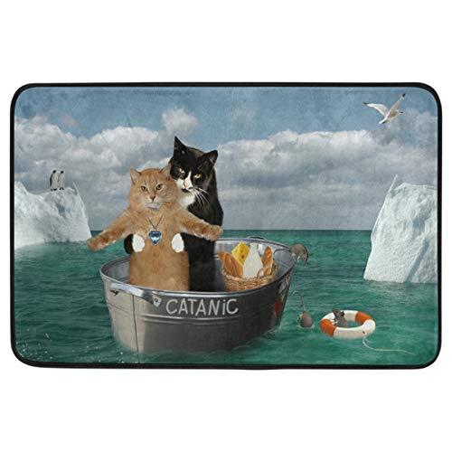 Wamika Funny Cat Kitty Kitten Decorative Doormat Pet Food Mat Non Slip Washable Cat Couples On The Ship Welcome Indoor Outdoor Entrance Bathroom Floor Mats Home Decor, 23.6 x 15.7 inch (Doormat Kitten)