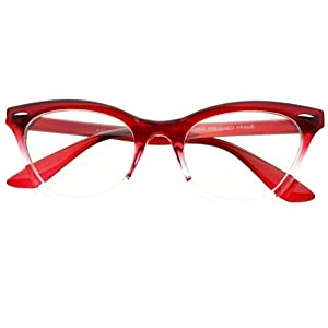 New Womens Half Tinted Modern Retro Clear Lens Cat Eye Glasses Frames (Red)