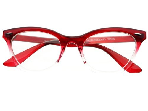 New Womens Half Tinted Modern Retro Clear Lens Wayfarer Cat Eye Glasses Frames (Red)