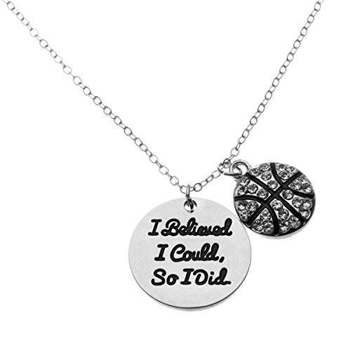 Sportybella Basketball Necklace, Basketball I Believed I Could So I Did Jewelry, Basketball Gifts, Basketball Charm Necklace, for Female Basketball Players