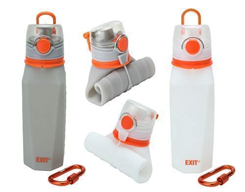 26 oz FDA Approved Medical Grade Silicone Gym Flask Premium Reusable Sports and Travel Water Bottles Safe BPA Free EXIT Collapsible Water Bottle
