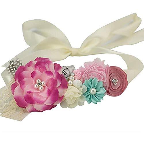 Maternity Sash Belt with Flower, Floral Baby Shower Belly Sash, Flower Girl Sash,Pregnancy Sash Belt for Photography