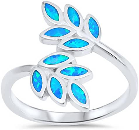 CHOOSE YOUR COLOR Sterling Silver Lab Created Opal Laurel Ring (Size 5 - 10)