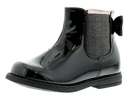 NEU jüngeres Mädchen / Kinder schwarz Lack Reißverschluss Chelsea Stiefel - schwarz - UK Größen 5-12