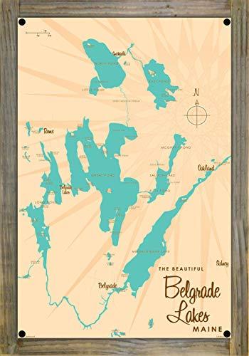Belgrade Lakes Maine Vintage-Style Map Metal Print on Reclaimed Barn Wood by Lakebound (12