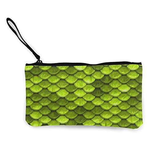 NOWDIDA Unisex Canvas Wristlet Wallet Clutch Purse Coin Pouch Pencil Bag Cosmetic Bag Beautiful Lime Green Mermaid Fish Scales