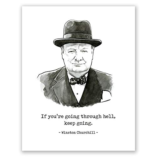 AtoZStudio A85 Winston Churchill Quote Poster //Motivational // Art Print // Portrait // Home Wall Decor // Office Bedroom Artwork // Historical Famous People (8x10) (Famous Quotes Pictures)
